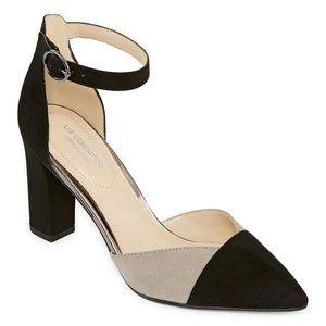 Liz Claiborne Anastasia Pumps Block Heel Grey 8.5W
